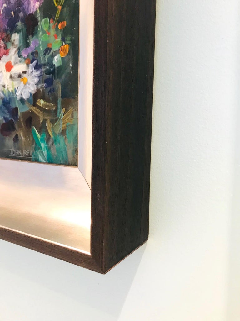 Contemporary Wildflowers Impressionist Still Life Painting in Custom Frame by John Reilly For Sale