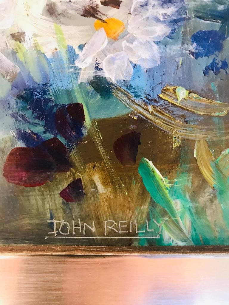 Wood Wildflowers Impressionist Still Life Painting in Custom Frame by John Reilly For Sale