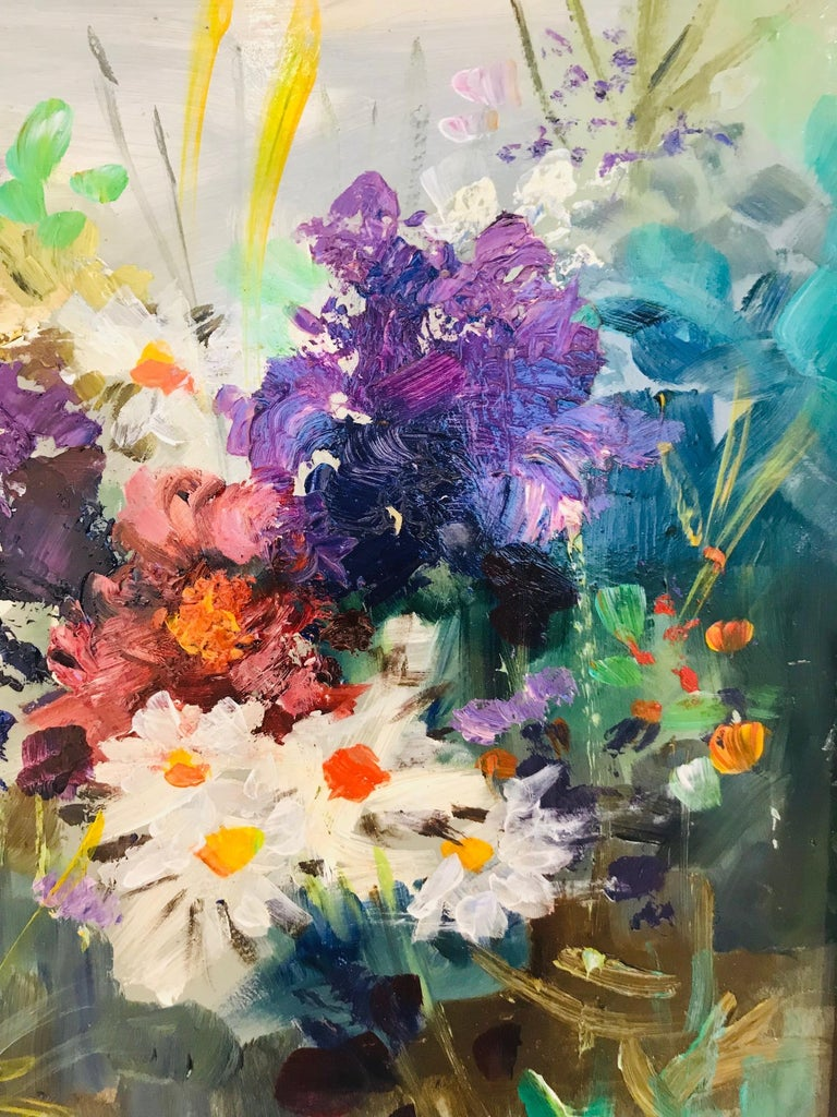 Wildflowers Impressionist Still Life Painting in Custom Frame by John Reilly For Sale 1