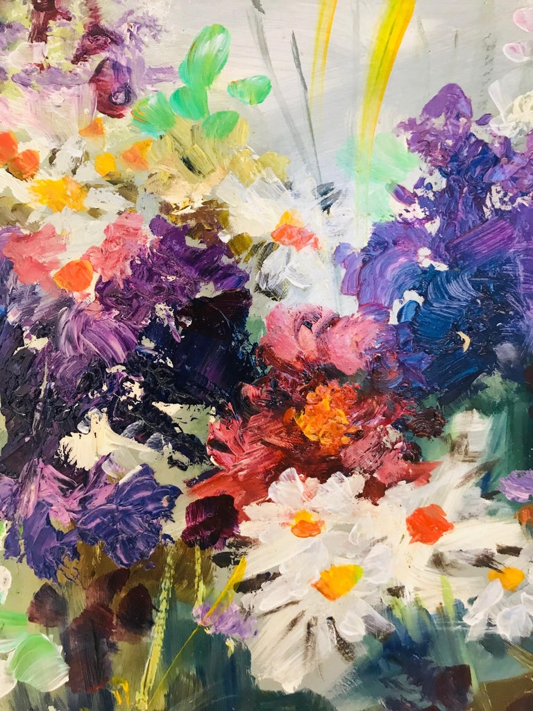 Wildflowers Impressionist Still Life Painting in Custom Frame by John Reilly For Sale 2