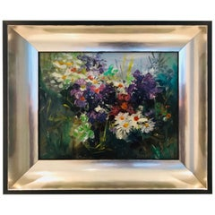 Wildflowers Impressionist Still Life Painting in Custom Frame by John Reilly