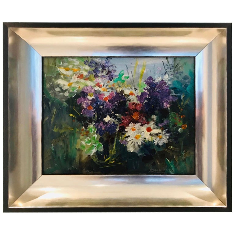 Wildflowers Impressionist Still Life Painting in Custom Frame by John Reilly For Sale