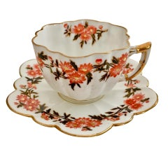 Wileman Porcelain Demitasse Cup and Saucer, Daisy Wreath, Red, Victorian, 1890