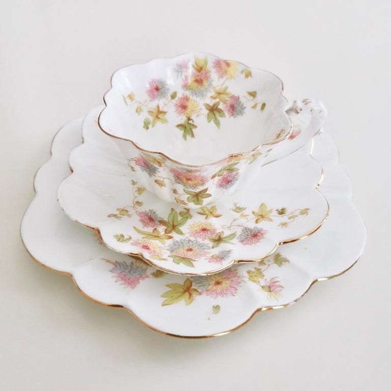 English Wileman Porcelain Tea Set, Chrysanthemum, Pastel Colors, Art Nouveau, 1896 For Sale