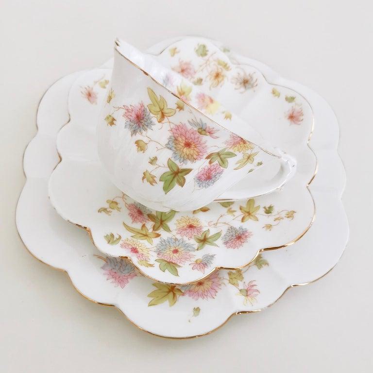 Hand-Painted Wileman Porcelain Tea Set, Chrysanthemum, Pastel Colors, Art Nouveau, 1896 For Sale