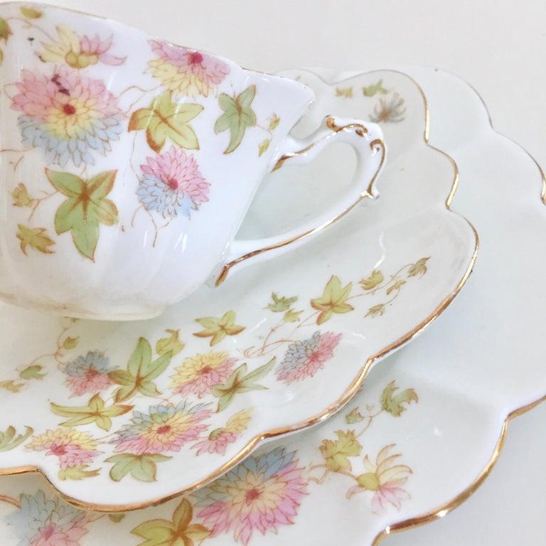 Late 19th Century Wileman Porcelain Tea Set, Chrysanthemum, Pastel Colors, Art Nouveau, 1896 For Sale