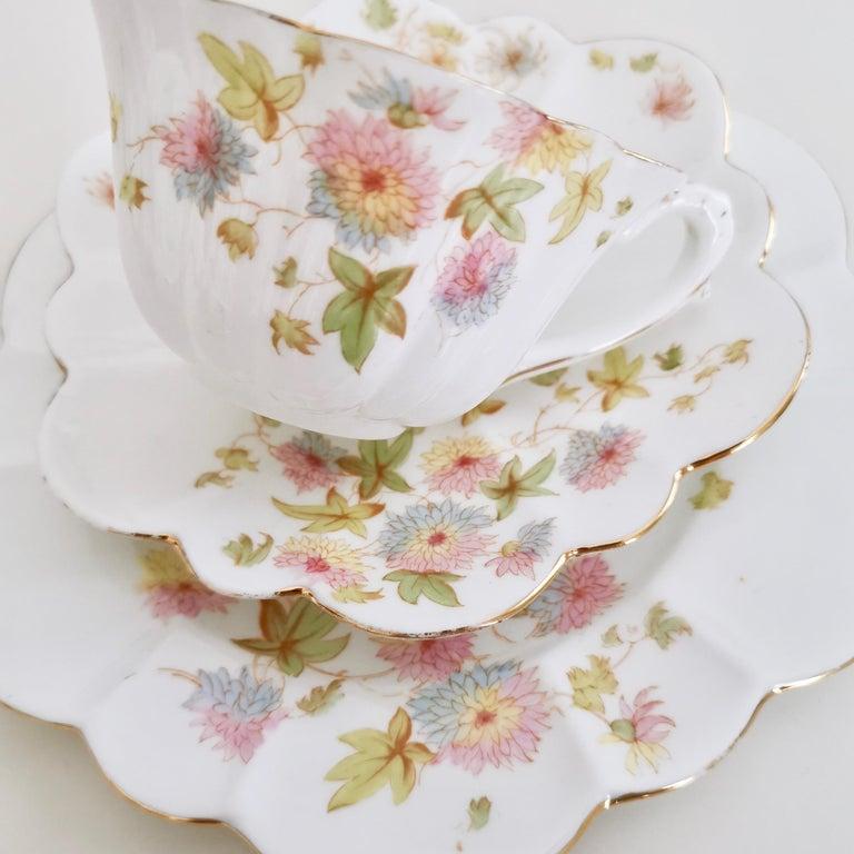 Wileman Porcelain Tea Set, Chrysanthemum, Pastel Colors, Art Nouveau, 1896 For Sale 1