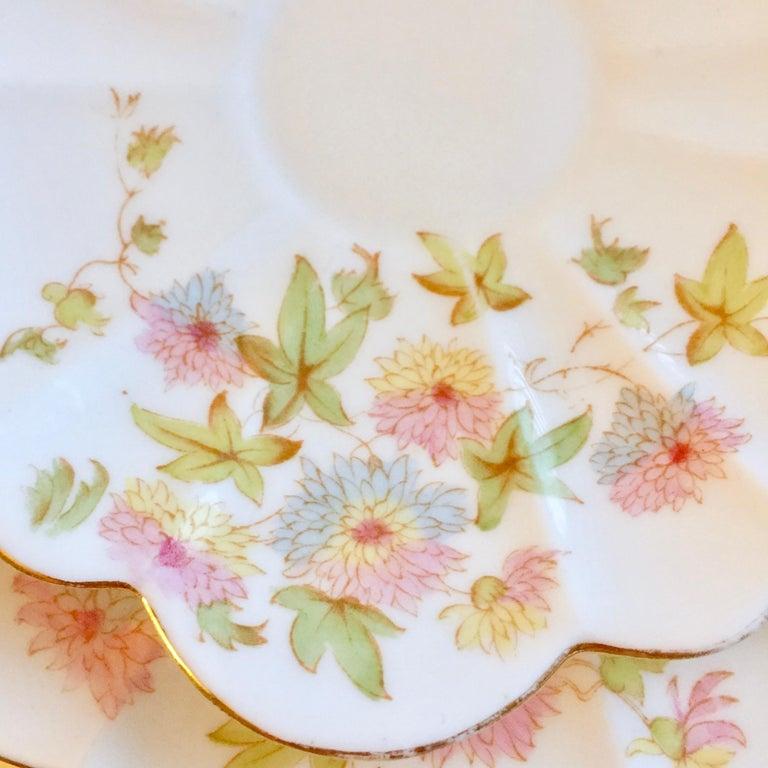 Wileman Porcelain Tea Set, Chrysanthemum, Pastel Colors, Art Nouveau, 1896 For Sale 2