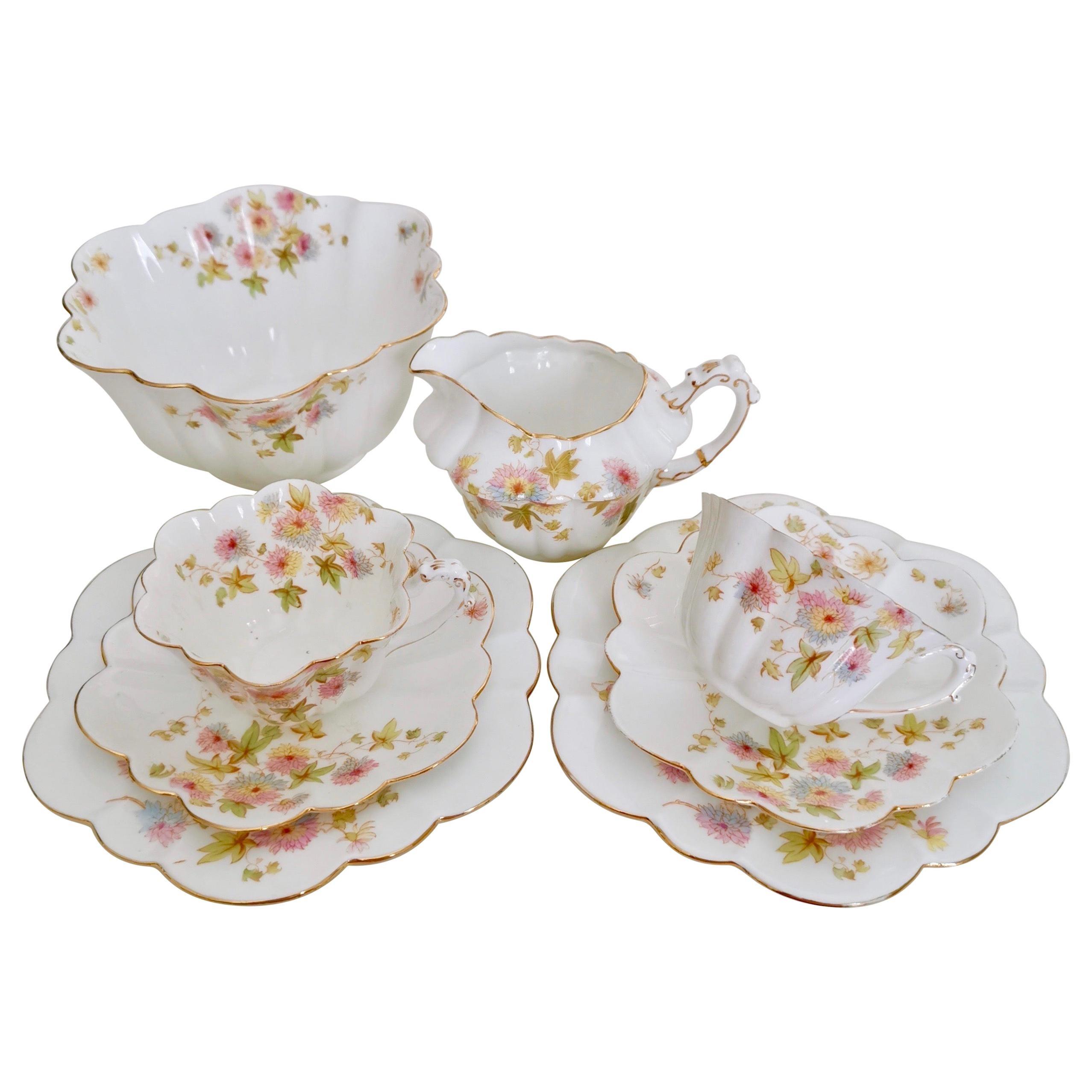 Wileman Porcelain Tea Set, Chrysanthemum, Pastel Colors, Art Nouveau, 1896