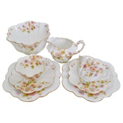 Wileman Porcelain Tea Set, Chrysanthemum, Pastel Colors, Art Nouveau, 1896