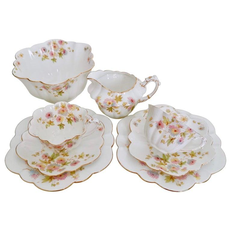Wileman Porcelain Tea Set, Chrysanthemum, Pastel Colors, Art Nouveau, 1896 For Sale