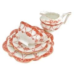 Wileman Tea for One Set, Red Floral Chains on Court Shape, Art Nouveau, 1906