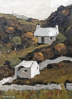 20th Century Oil Painting Landscape of Wales 'Tan y Castell' by Wilf Roberts