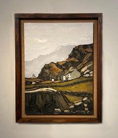 'Hafod Tan Graig A'ar' Welsh Landscape painting of white cottages & mountains