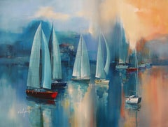 Boats - Acrylic on canvas, Semi-Abstract Painting, 21st Century by Wilfred