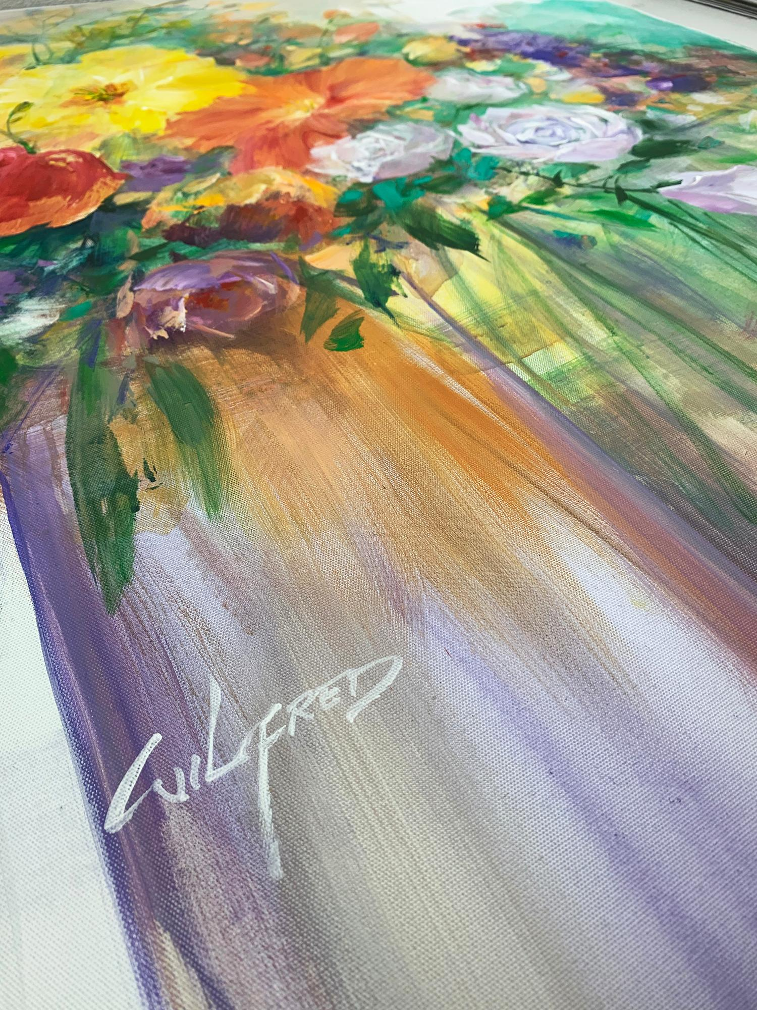 Flowers For You Acrylic On Canvas Semi Abstract Painting By Wilfred