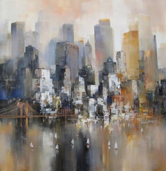 New York Fall - Acrylic on canvas, Abstract Painting, 21st Century by Wilfred