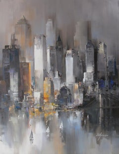 New York Heights - Acrylic on canvas, Abstract Painting, 21st Century by Wilfred