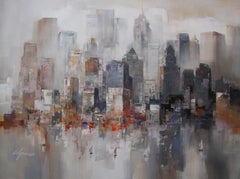 New York in day - Acrylic on canvas, Abstract Painting, 21st Century by Wilfred