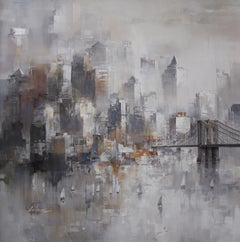New York in White - Acrylic on canvas, Abstract Painting,21st Century by Wilfred