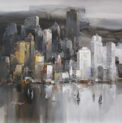 New York Sail - Acrylic on canvas, Abstract Painting,21st Century by Wilfred