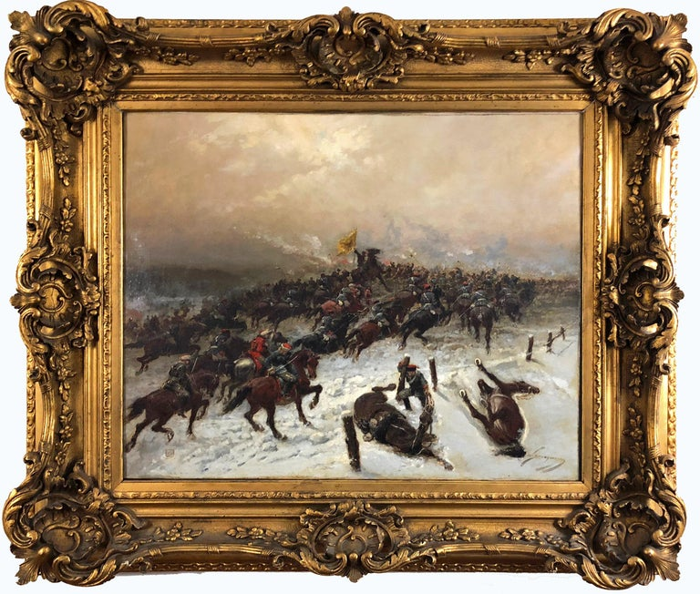Wilfrid-Constant Beauquesne Figurative Painting - Franco-Prussian Battle Scene