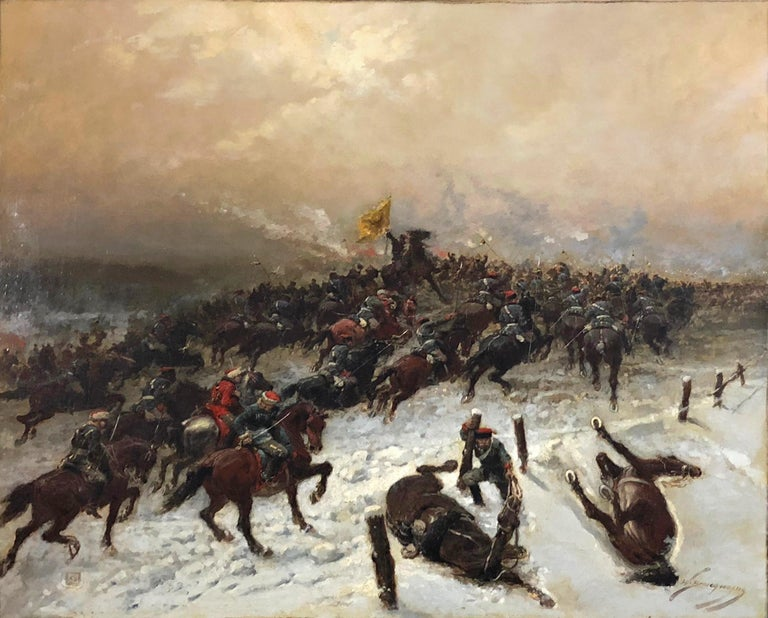 Franco-Prussian Battle Scene - Painting by Wilfrid-Constant Beauquesne