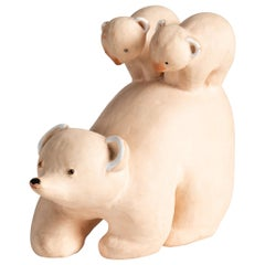 Wilfrid Prost, Ceramic Sculpture of a Bear with Two Cubs, France, circa 1940
