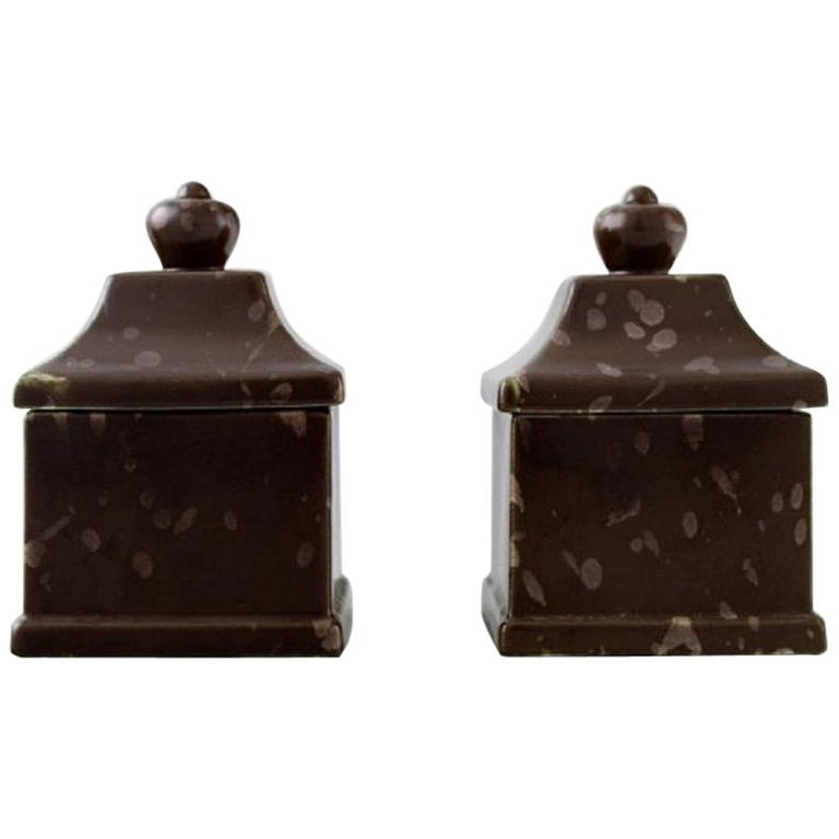 Wilhelm Kåge, a Pair of Early and Rare Art Deco Lidded Jars, 1920s-1930s For Sale