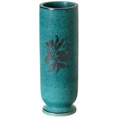 Wilhelm Kåge Argenta Ceramic Vase for Gustavsberg with Silver Floral Overlay