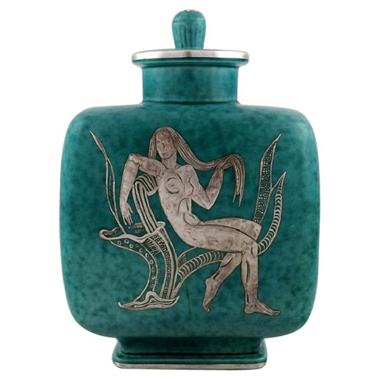 Wilhelm Kåge for Gustavsberg. Argenta Art Deco Lidded Jar. 1940's