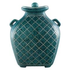 Wilhelm Kåge for Gustavsberg, Argenta Lidded Vase in Ceramic, 1940s