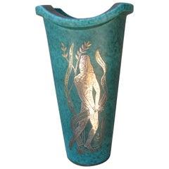 Wilhelm Kage for Gustavsberg, Argenta Vase with Silver Overlay, Nude Figure