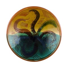 Wilhelm Kåge for Gustavsberg, Bowl in Glazed Ceramic with Hand Painted Octopus