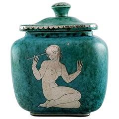 Wilhelm Kåge for Gustavsberg, Large Argenta Art Deco Ceramic Lidded Jar, 1940s