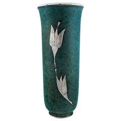 Wilhelm Kåge for Gustavsberg, Rare Argenta Art Deco Ceramic Vase, 1940s