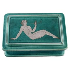 Wilhelm Kåge for Gustavsberg, Rare Argenta Art Deco Lidded Box