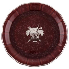 Wilhelm Kåge for Gustavsberg, Rare Red Argenta Dish in Glazed Ceramics