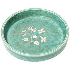 Wilhelm Kage Gustavsberg Argenta Ceramic and Sterling Silver Bowl Dish Vintage