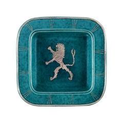 Wilhelm Kåge, Gustavsberg, Art Deco Argenta Dish in Ceramics Decorated with Lion