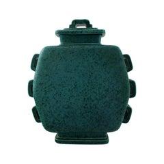 Wilhelm Kåge, Gustavsberg, Large Argenta Art Deco Lidded Jar in Stoneware