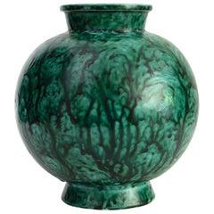 Wilhelm Kage, Gustavsberg Scandinavian Modern Unique Splatter Glazed Vase