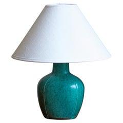 "Wilhelm Kåge, Small ""Argenta"" Table Lamp, Glazed Stoneware, Silver Paint, 1940s"