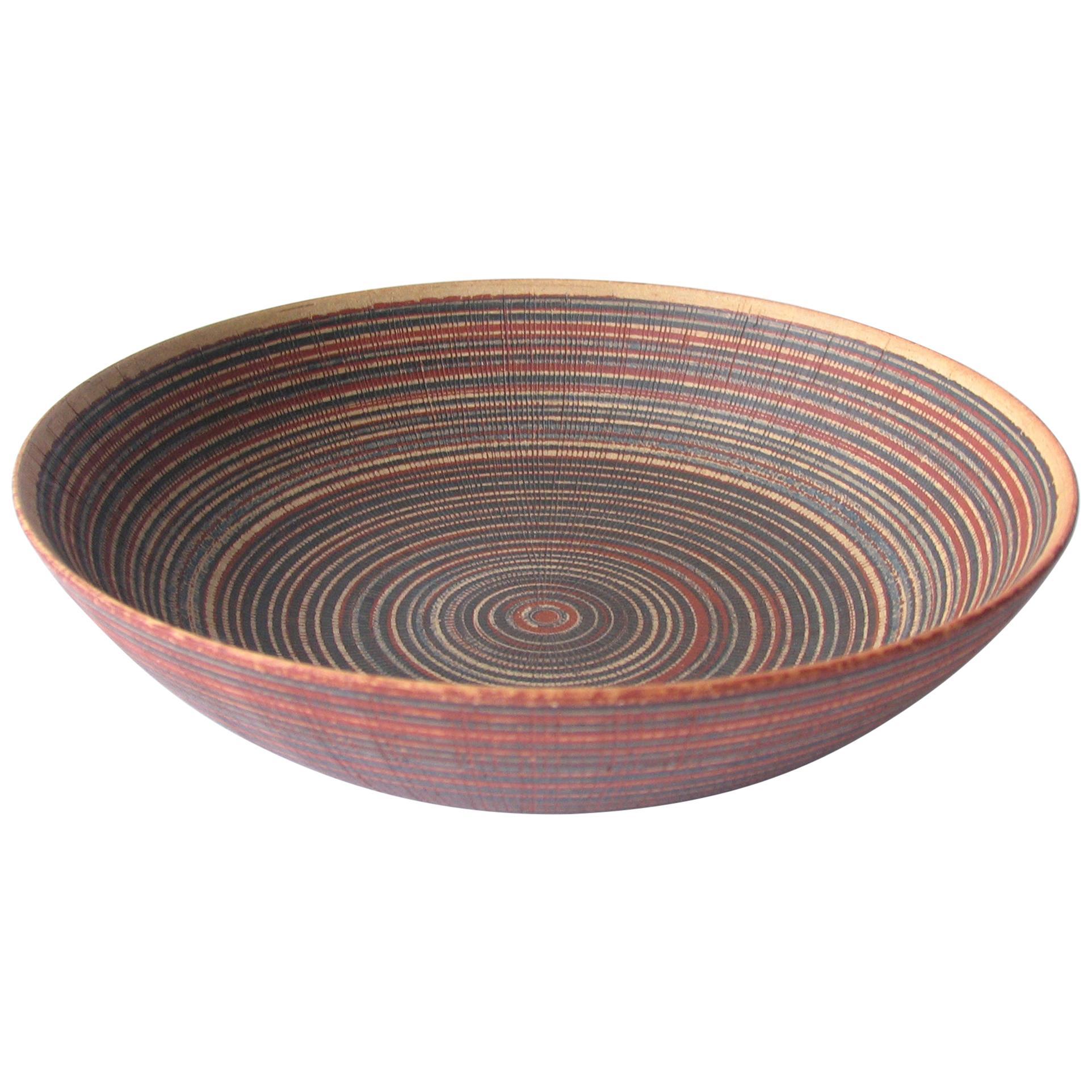 Wilhelm Kage Striped Stoneware Farsta Bowl Gustavsberg