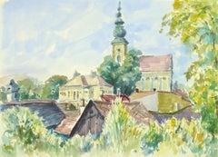 French Watercolor Landscape - Village Center