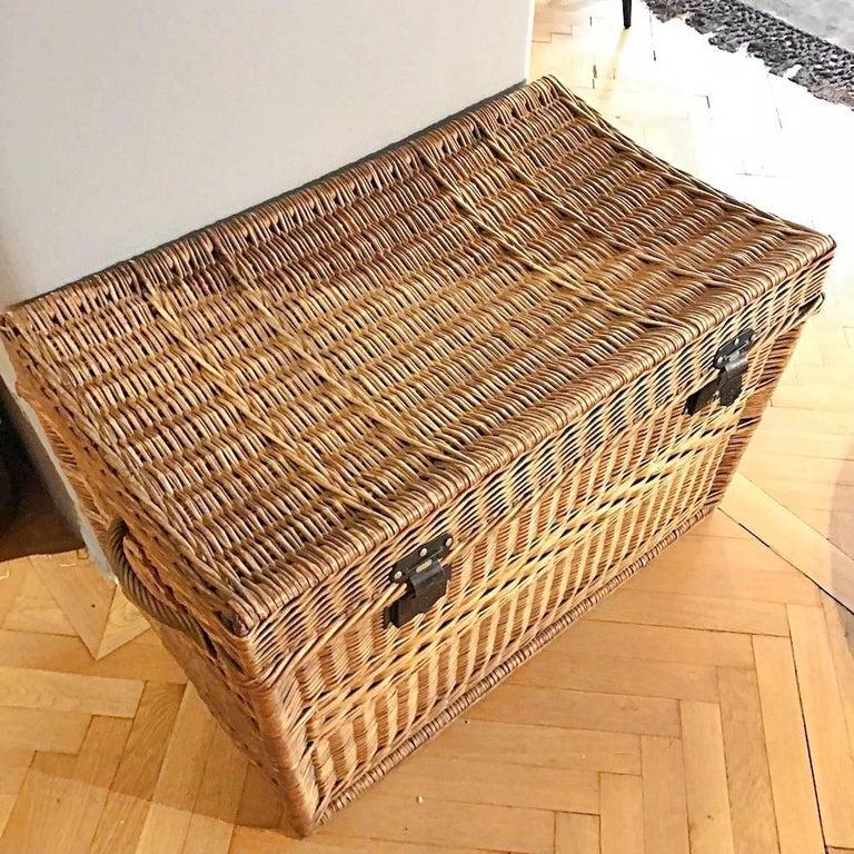 Wilhelm Melzer Large Wicker Basket Trunk 1910s Austria At 1stdibs