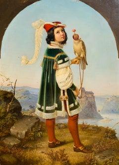 19th cent. Nazarene painting - Nobleman with falcon Nazarener Kunst Von Schadow
