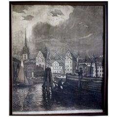Wilhelm Pupy Etching of Stockholm, 1926