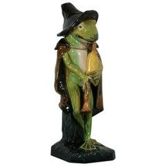 Wilhelm Schiller Majolica Frog Playing Bagpipes Figure