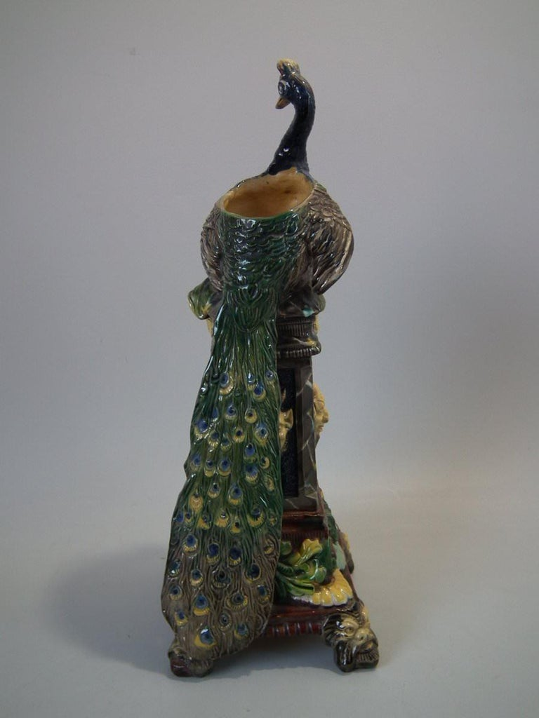 German Wilhelm Schiller & Sons Majolica Peacock Vase For Sale